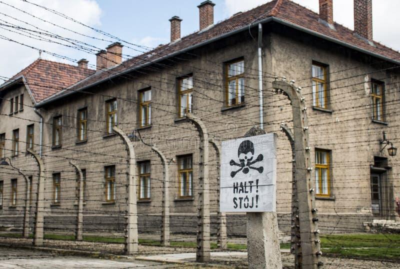 Stoppa dödteckenkoncentrationsläger Auschwitz Birkenau KZ Polen royaltyfri bild