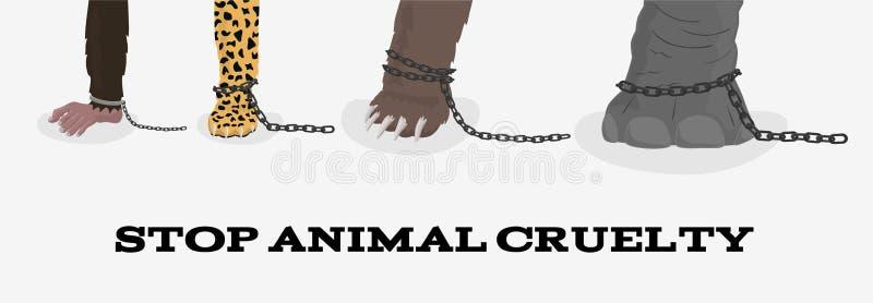 Stoppa djur grymhet med apan för elefantbjörnleoparden i kedjor stock illustrationer
