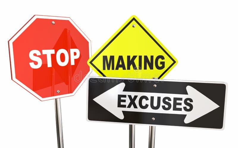Stoppa framställning varnande tecken för ursäktanledningar stock illustrationer