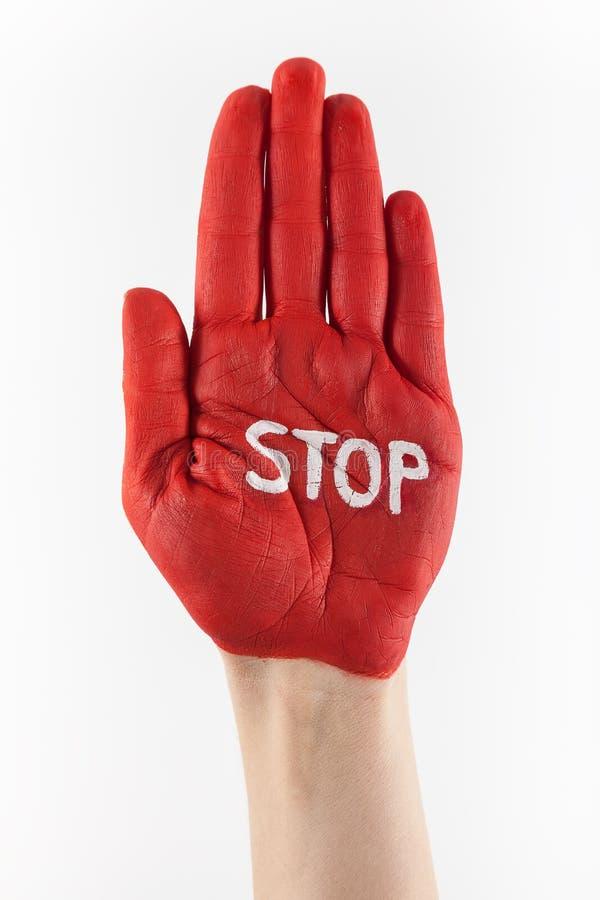 Stoppa handen fotografering för bildbyråer