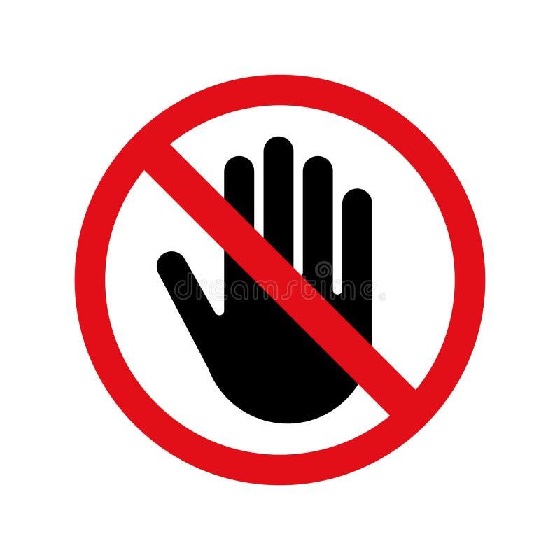 Stoppa handvektorn ingen tillträdesteckensymbol stock illustrationer