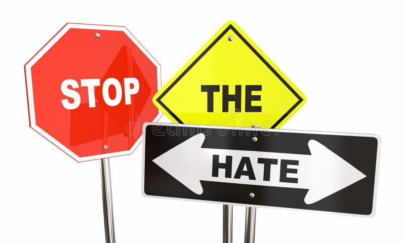 Stoppa hatvägmärkena går tillsammans stock illustrationer