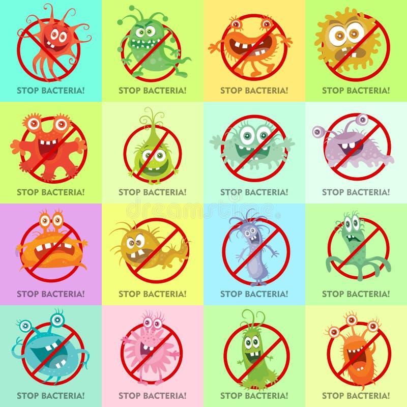Stoppa illustrationen för bakterietecknad filmvektorn ingen virus vektor illustrationer