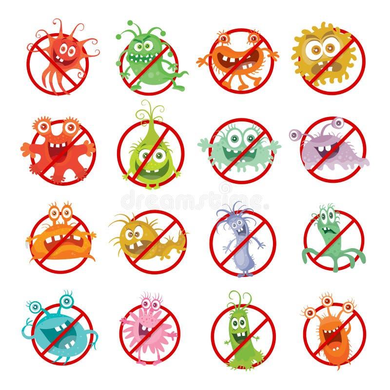 Stoppa illustrationen för bakterietecknad filmvektorn ingen virus stock illustrationer