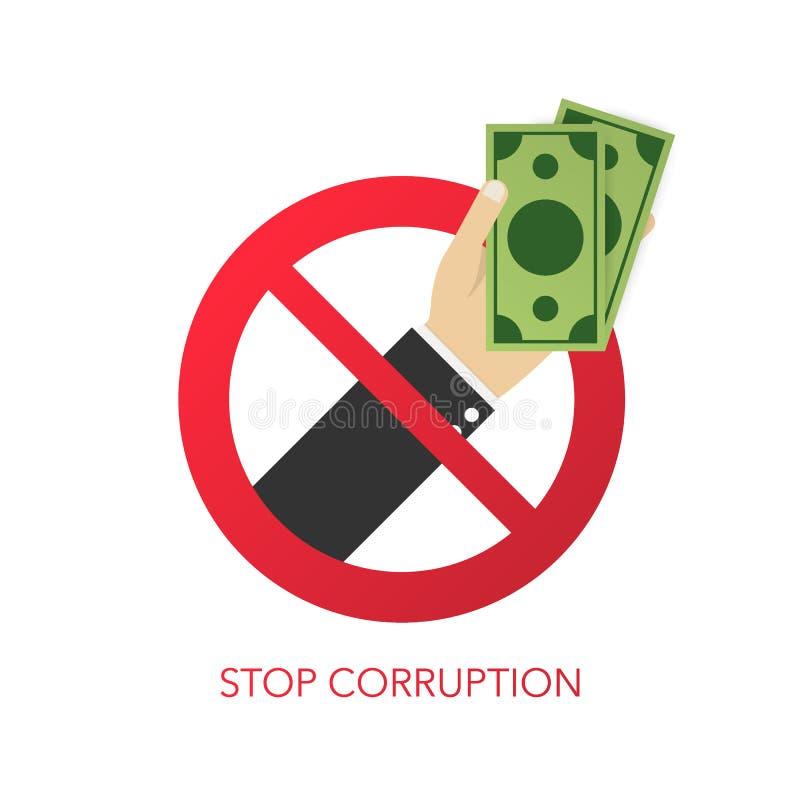 Stoppa korruption Affärsman som vägrar den erbjudna mutan också vektor för coreldrawillustration stock illustrationer
