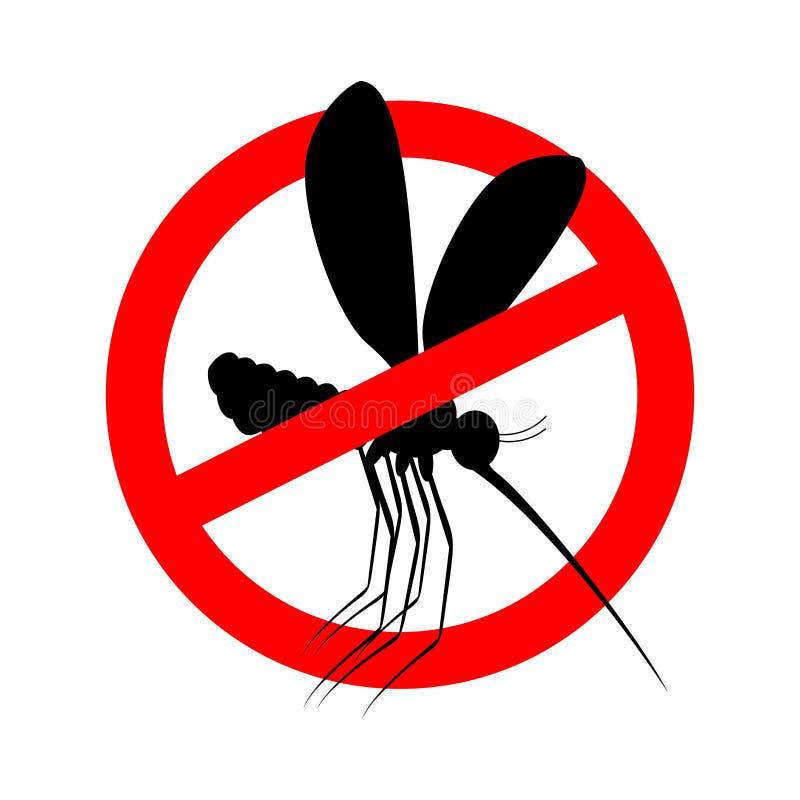 Stoppa myggan Rött förbudtecken Förbudkryp stock illustrationer