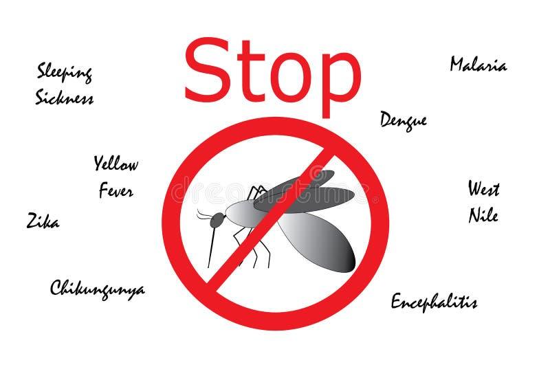 Stoppa myggan uthärdade sjukdomar vektor illustrationer