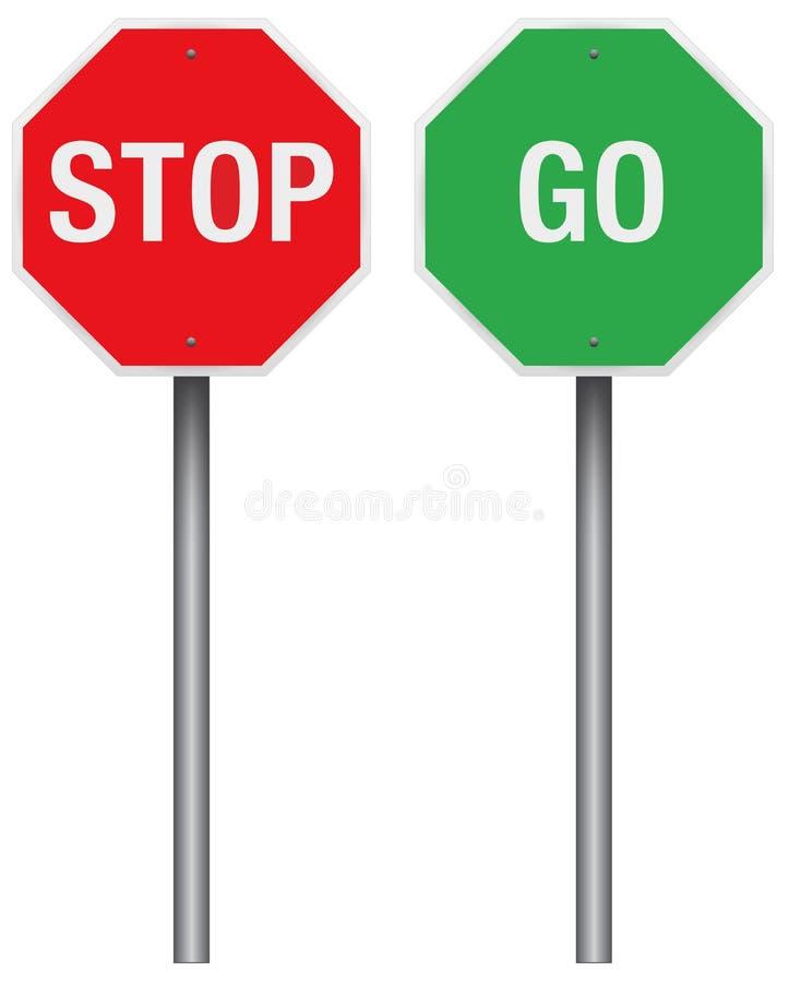Stoppa och gå tecken royaltyfri illustrationer