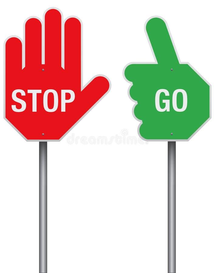 Stoppa och gå tecken vektor illustrationer