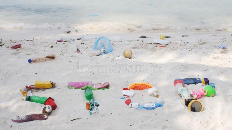 Stoppa plast-avfalls arkivbilder