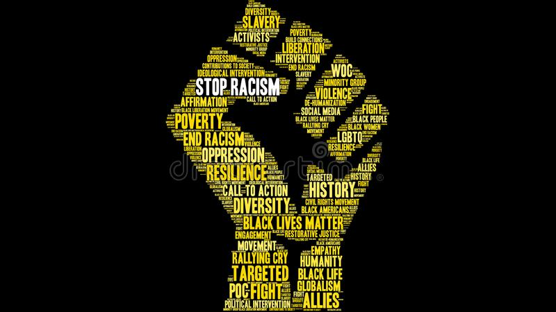 Stoppa rasismordmolnet vektor illustrationer