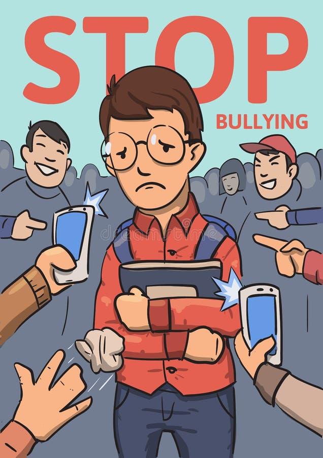 Stoppa skolapennalismaffischen Telefoner och fingrar som pekar på skolpojken som omges, genom att skratta översittare Kulör lägen stock illustrationer