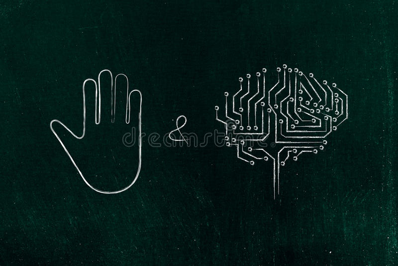 Stoppa & tänk, handgesten och den elektroniska hjärnan arkivbild