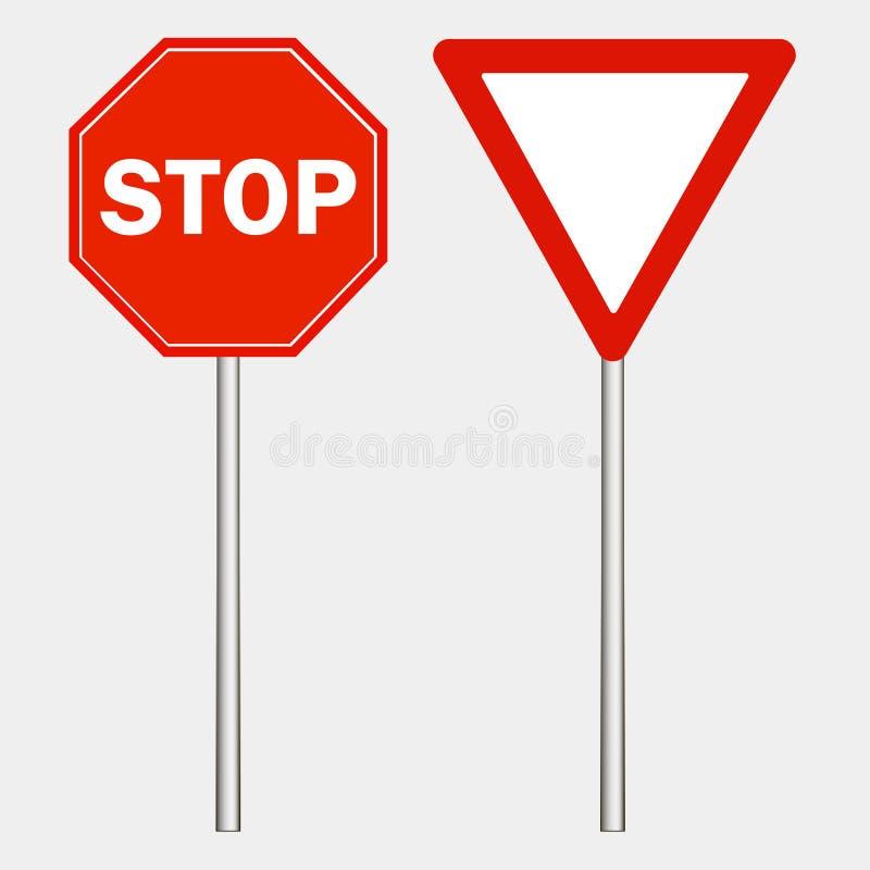 stoppa teckensymbolen Varningsvägmärke på grå bakgrund, röd triangel Gör vägen också vektor för coreldrawillustration stock illustrationer