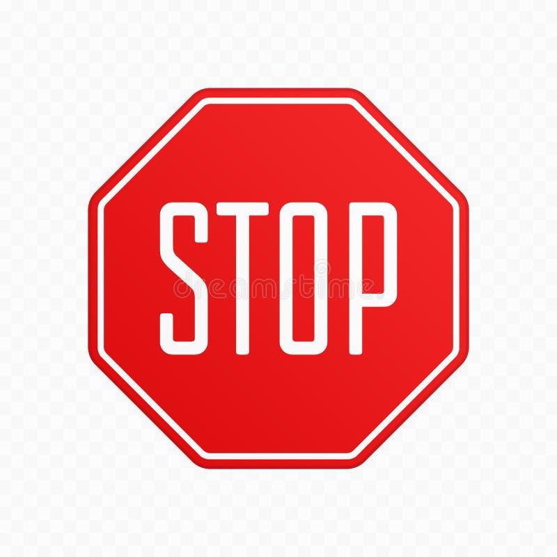 Stoppa teckenvektorn royaltyfri illustrationer