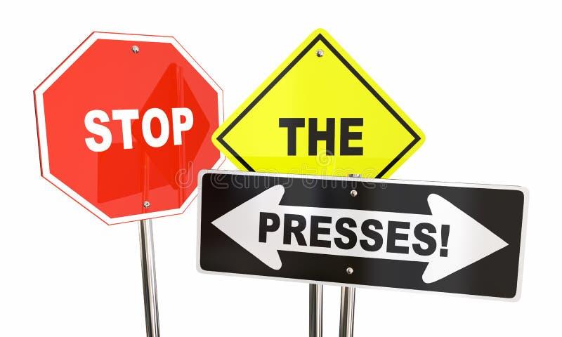 Stoppa tecknet för varningen för pressbreaking newsuppdateringen vektor illustrationer