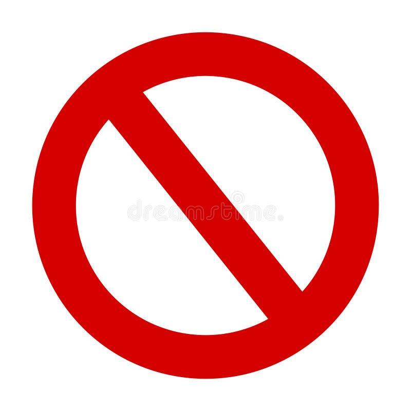 Stoppa tecknet ingen symbol för cirkel för tillträdesvarningsvektor röd stock illustrationer