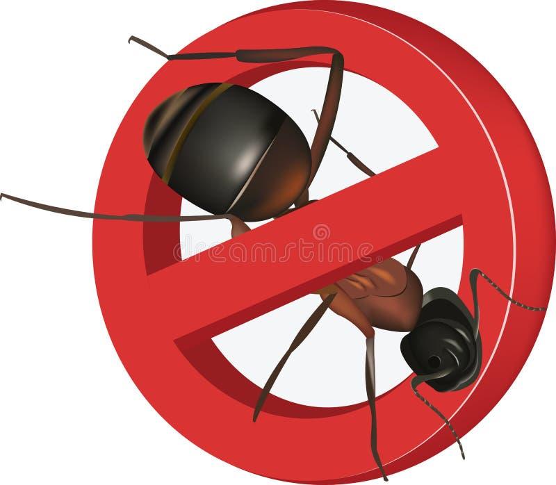 Stoppa tecknet med myran stock illustrationer