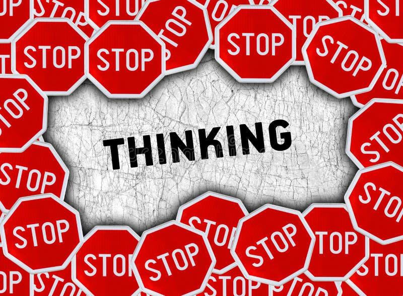 Stoppa tecknet och uttrycka att tänka royaltyfri illustrationer