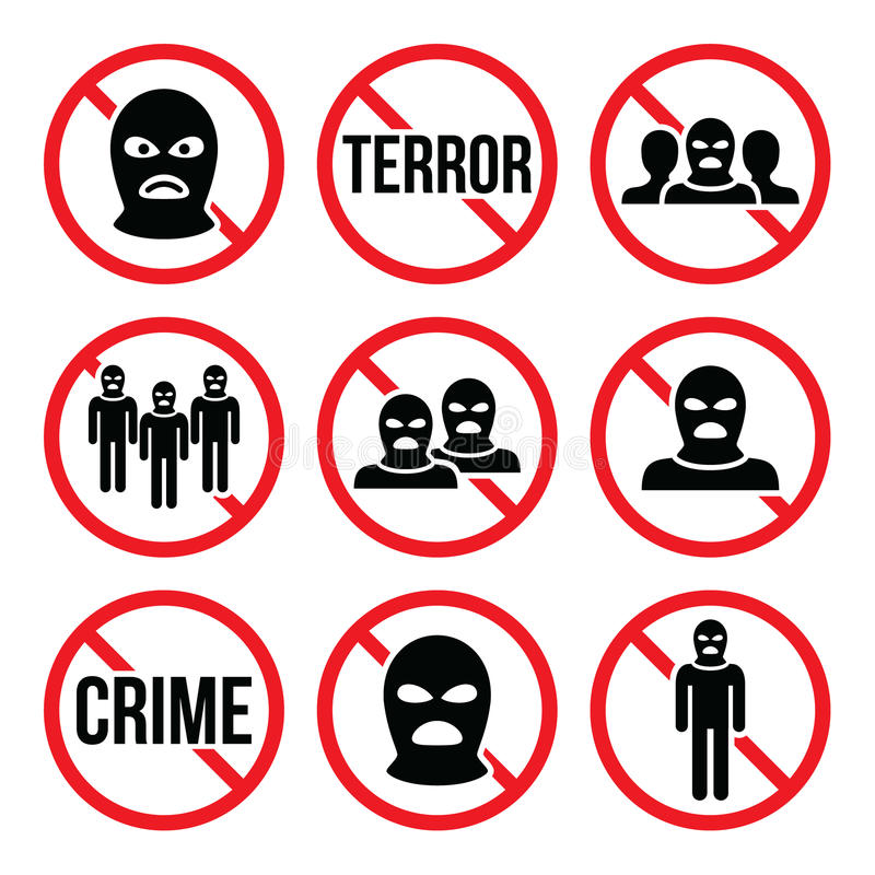 Stoppa terrorism, inget brott, inget tecken för varning för terroristgrupp royaltyfri illustrationer