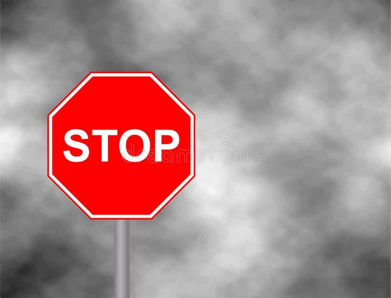 Stoppa undertecknar in grå himmelbakgrund Rött stopptecken, reglerande isolerad trafik stock illustrationer