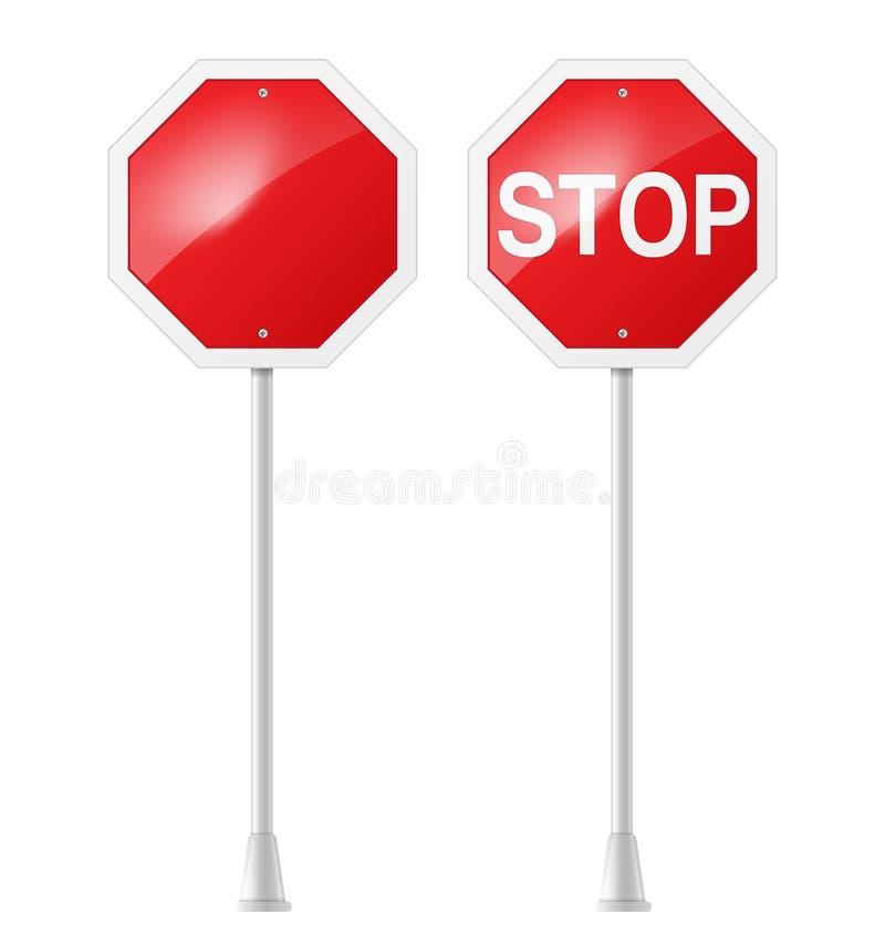 Stoppa vägmärket vektor illustrationer