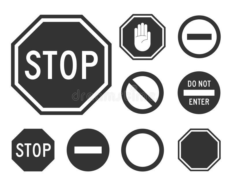 Stoppa vägmärkeuppsättningen royaltyfri illustrationer