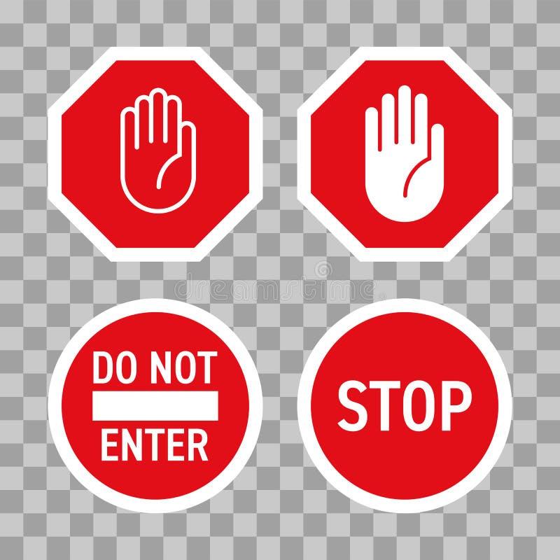 Stoppa vägmärkevektorn som den röda handen skriver in gest vektor illustrationer