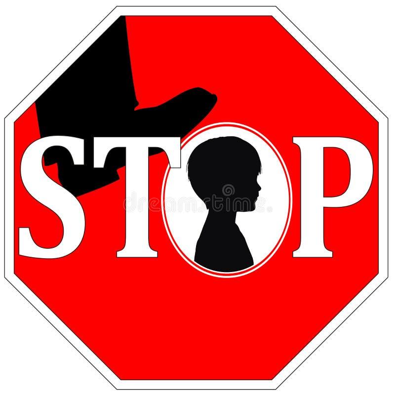 Stoppa våld mot barn stock illustrationer