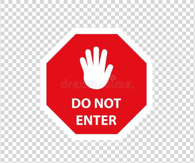 Stoppa v?gm?rket med handgest E Tecken f?r riktning f?r varningsf?rbudsymbol Varningsstopptecken royaltyfri illustrationer