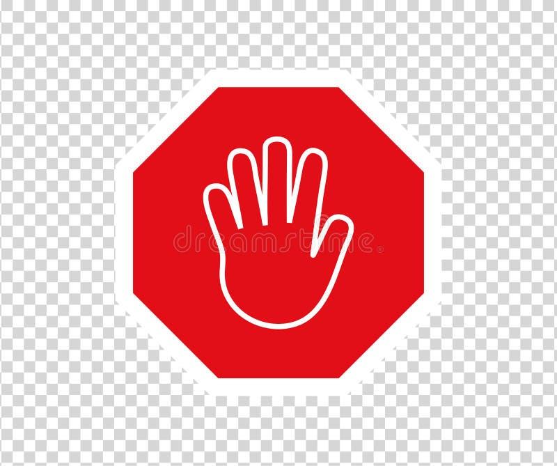 Stoppa v?gm?rket med handgest Nytt rött skriver in inte trafiktecknet Tecken f?r riktning f?r varningsf?rbudsymbol Varningsstoppt vektor illustrationer
