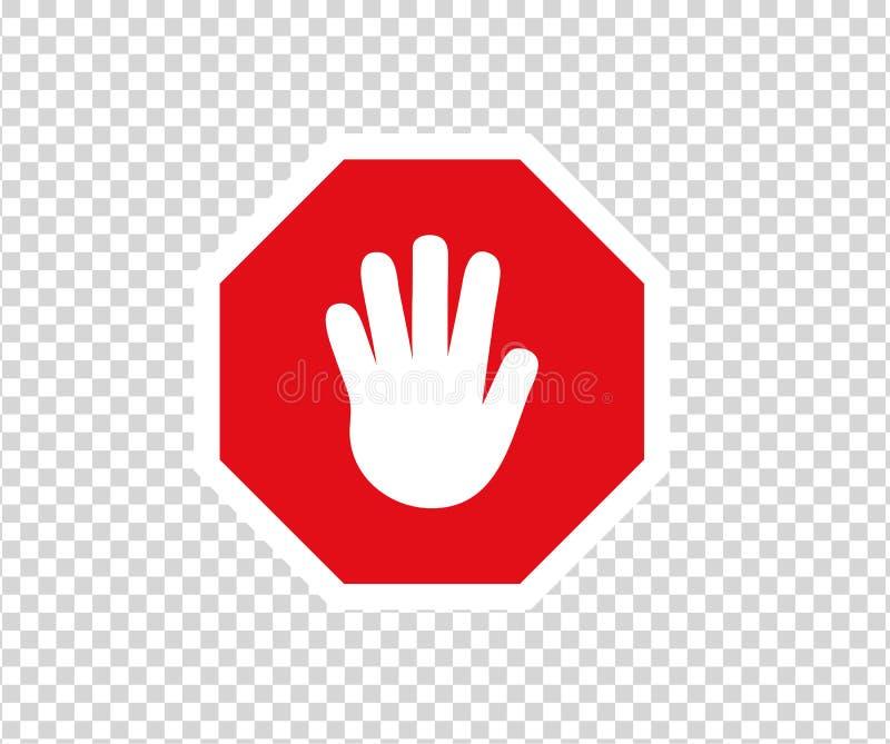 Stoppa v?gm?rket med handgest Nytt rött skriver in inte trafiktecknet Tecken f?r riktning f?r varningsf?rbudsymbol Varningsstoppt royaltyfri illustrationer