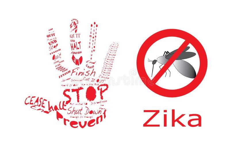 Stoppa Zika med handen vektor illustrationer