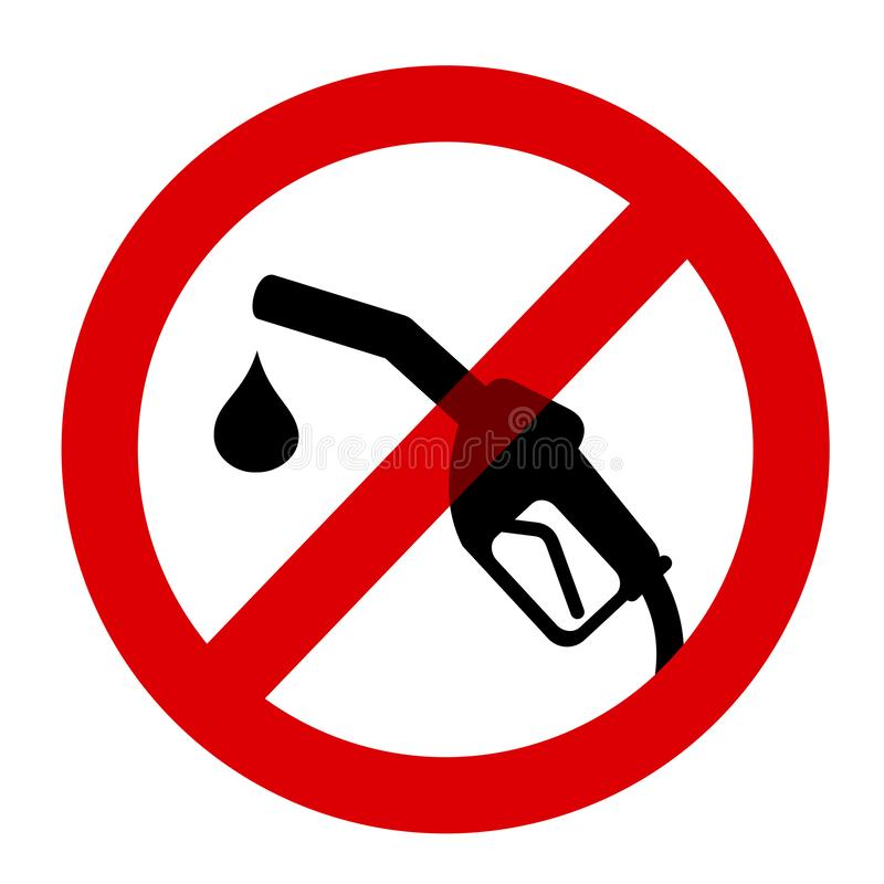 Stoppage, ban and prohibition to fuel by oil, petrol, gasoline. Fuel gun is prohibited and abolished. Stoppage, ban and prohibition to fuel by oil, petrol vector illustration