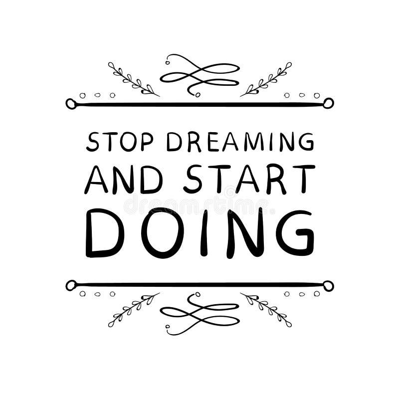 `-Stoppdrömma och stard som GÖR `-ord med hand drog calligraphic designbeståndsdelar Handskrivna bokstäver för vektor _ vektor illustrationer