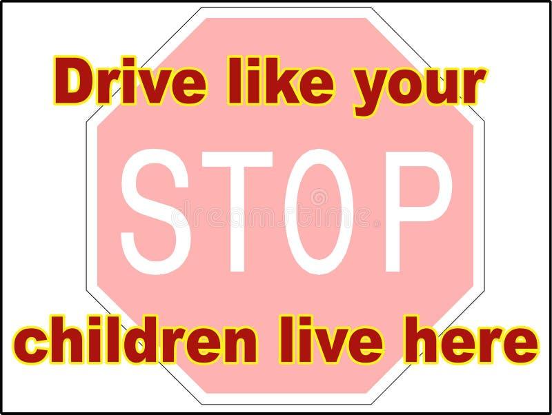 Stoppdrev som din mapp för 2 vektor för barn som levande kör släpet för farateckentrycket, parkerar här långsam down vektor illustrationer