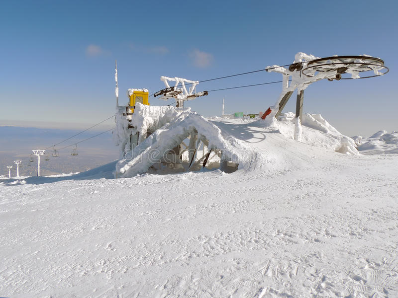 Stopped ski lift in frost stock images