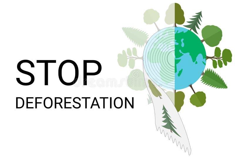 Stoppen Sie Abholzung Entleerung von Waldbetriebsmitteln, illegale Protokollierung lizenzfreies stockfoto