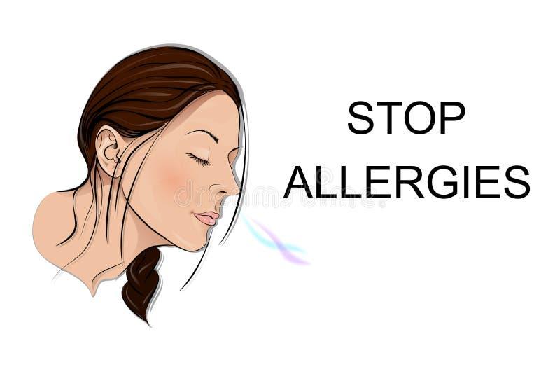 Stoppen Sie Allergien geruch lizenzfreie abbildung