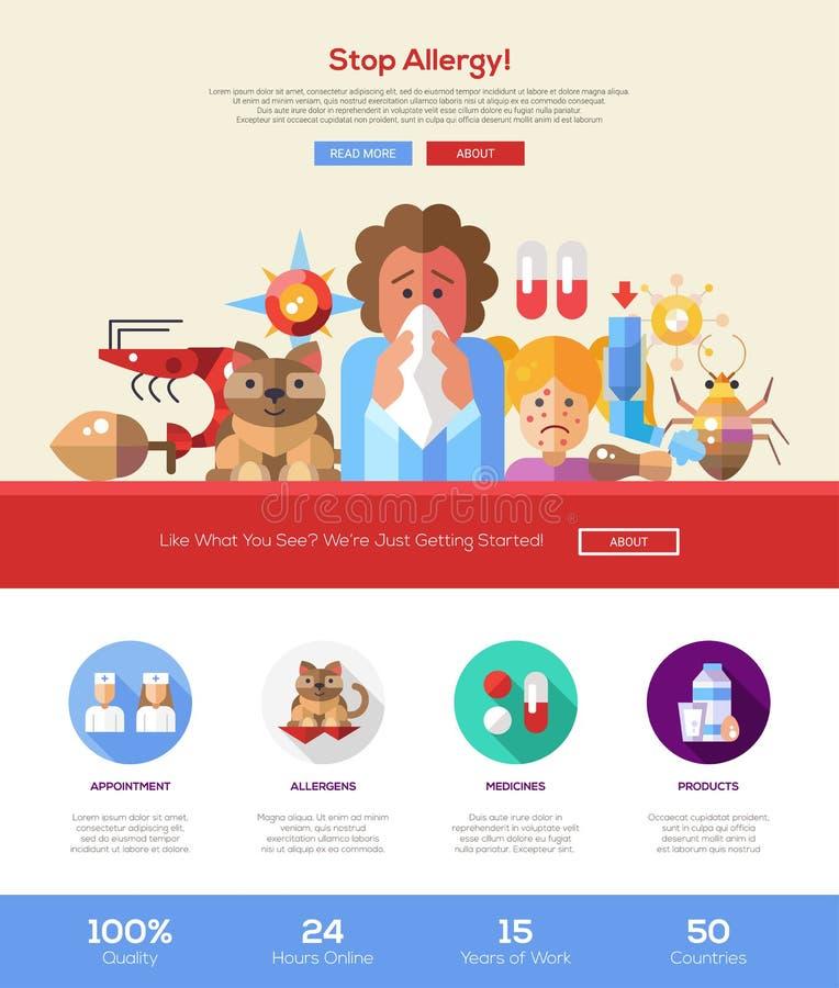 Stoppen Sie Allergiewebsite-Titelfahne mit webdesign Elementen lizenzfreie abbildung