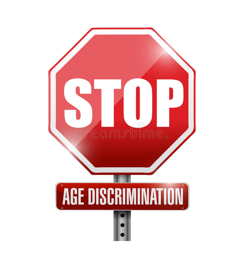 stoppen Sie, Altersdiskriminierungs-Verkehrsschild vektor abbildung