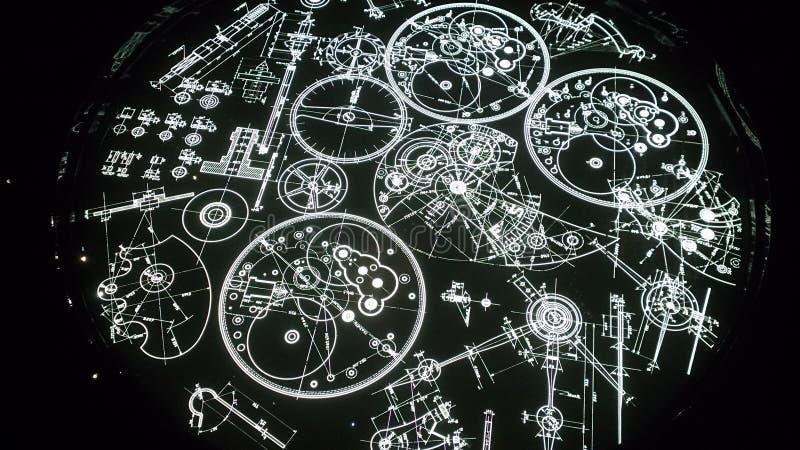 Stoppen Sie constructin Teile ab, die im Schwarzen grafisch sind und beleuchten Sie stockfotos