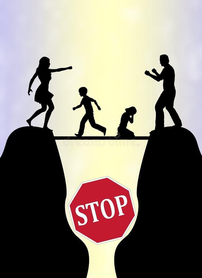 Stoppen Sie den Familien-Kampf vektor abbildung