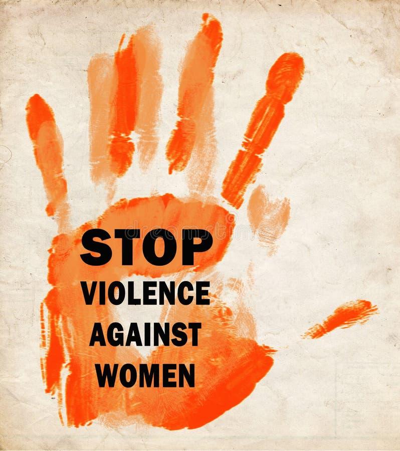 Stoppen Sie Gewalttätigkeit gegen die Retro- Frauen vektor abbildung