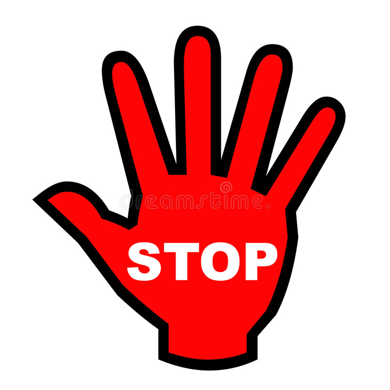 Stoppen Sie Hand lizenzfreie abbildung