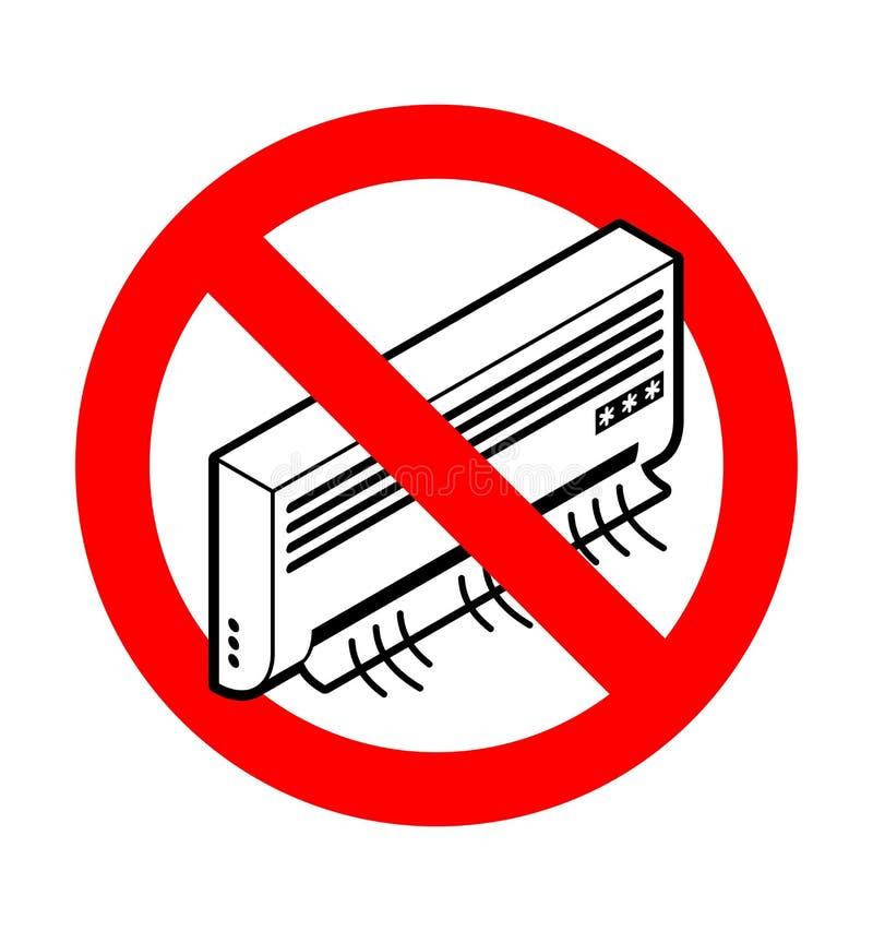 Stoppen Sie Klimaanlage Verbot-Abkühlen Rotes VerbotVerkehrsschild vektor abbildung