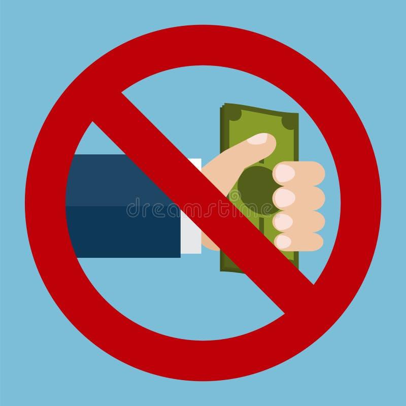 Stoppen Sie Korruptionszeichen stock abbildung