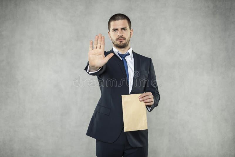 STOPPEN Sie mit Bestechungsgeld im Geschäft stockfotografie