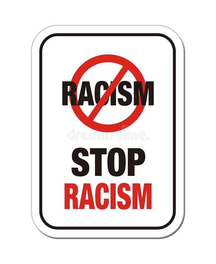 Stoppen Sie Rassismuszeichen lizenzfreie abbildung
