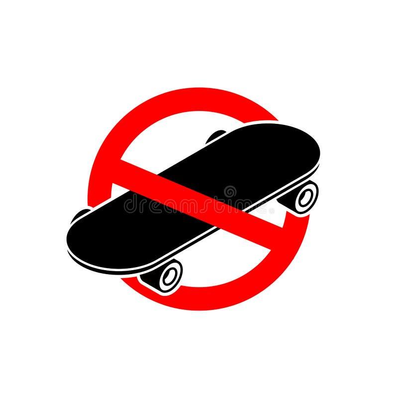 Stoppen Sie Skateboard Kein Skateboarding Es ist verboten, um auf BO zu fahren lizenzfreie abbildung